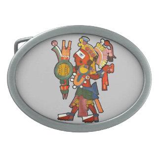 マヤのインディアンの戦士 卵形バックル