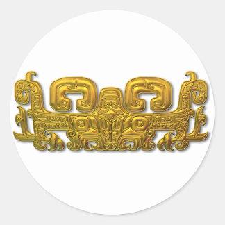 マヤのジャガー-金ゴールド ラウンドシール