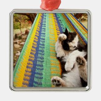 マヤのメキシコハンモックにあっている猫 メタルオーナメント