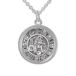 マヤの円、メキシコヒエログリフ(マヤ) スターリングシルバーネックレス
