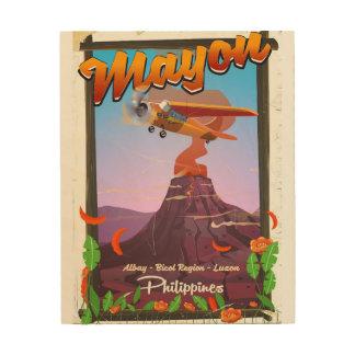 マヨン山フィリピンの冒険ポスター ウッドウォールアート