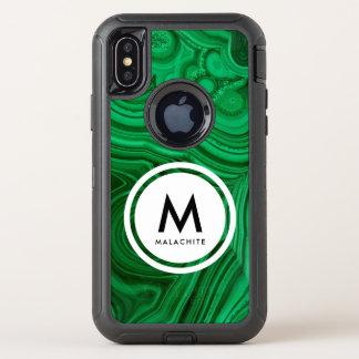 マラカイトの鉱物のモノグラム オッターボックスディフェンダーiPhone X ケース