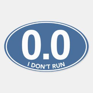 マラソン0.0私は楕円形のステッカーを走りません(青い) 楕円形シール
