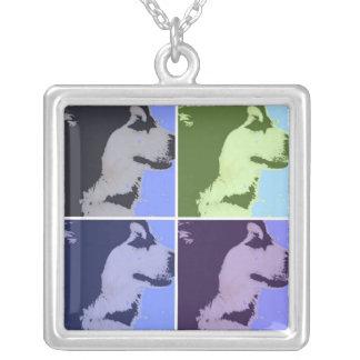 マラミュート犬のポップアート シルバープレートネックレス