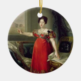 マリアイザベルde Braganza 1829年女王夫人(油 セラミックオーナメント