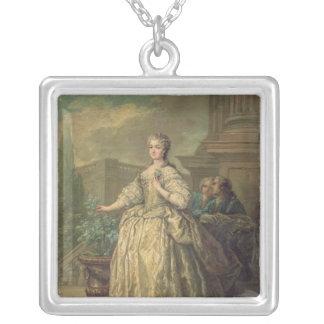 マリアLeszczynska 1747年のポートレート シルバープレートネックレス