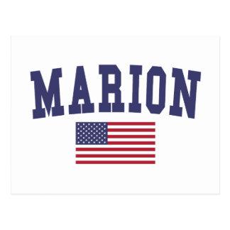 マリオン米国の旗 ポストカード