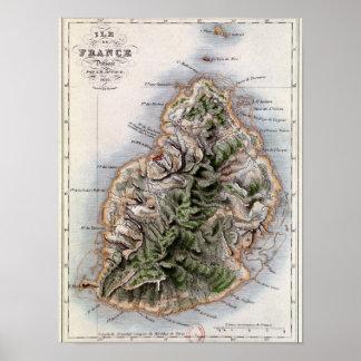 マリシャスのイラストレーション「ポールとVirginieの地図 ポスター
