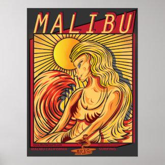 マリブカリフォルニアSURFBREAKのサーフィン ポスター
