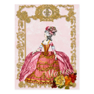 マリーアントワネットのポストカード、ヴェルサイユゴールド絵葉書ピンク ポストカード