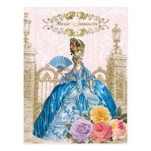 マリーアントワネットのポストカード、ヴェルサイユブルー絵葉書ピンク ポストカード