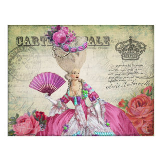 マリーアントワネットのポストカード、王冠ー絵葉書グリーン はがき