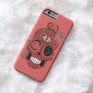 マリーゴールドおよび蝶が付いている珊瑚の赤い砂糖のスカル BARELY THERE iPhone 6 ケース
