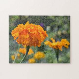 マリーゴールドのオレンジ花の自然の写真撮影の庭 ジグソーパズル