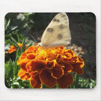 マリーゴールドのキャベツ白の蝶 マウスパッド