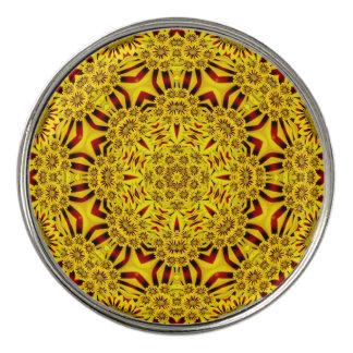 マリーゴールドのヴィンテージの万華鏡のように千変万化するパターンの   ゴルフマーカー3 ゴルフボールマーカー