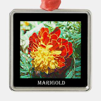 マリーゴールドの花柄の紋章 メタルオーナメント