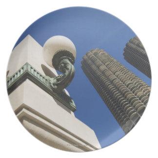 マリーナ都市タワーシカゴの街灯の詳細 プレート