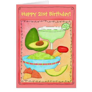 マルガリータのグアカモーレの幸せな第21誕生日 カード