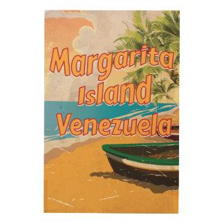 マルガリータの島のヴィンテージ旅行ポスタープリント ウッドウォールアート