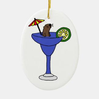 マルガリータの青い飲み物のおもしろいなラッコ セラミックオーナメント
