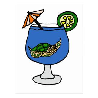 マルガリータの飲み物のおもしろいなウミガメ ポストカード