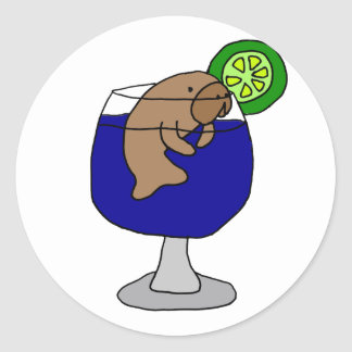 マルガリータガラスのおもしろいなマナティー ラウンドシール