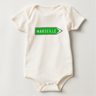マルセーユの交通標識、フランス ベビーボディスーツ