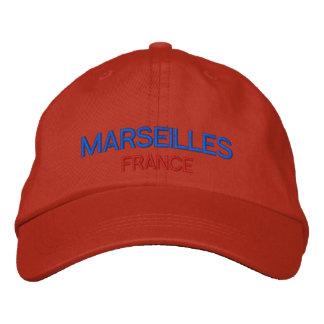 マルセーユフランスの名前入りで調節可能な帽子 刺繍入りベースボールキャップ