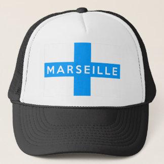 マルセーユ都市旗のフランスの国名の文字 キャップ