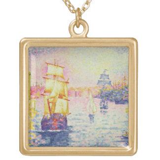 マルセーユ、c.1909 (キャンバスの油)の港 ゴールドプレートネックレス