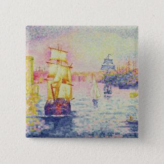 マルセーユ、c.1909 (キャンバスの油)の港 5.1cm 正方形バッジ