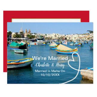 マルタで結婚したなポストの結婚披露宴のパーティー カード