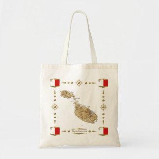 マルタの地図 + 旗のバッグ トートバッグ