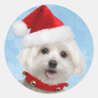 マルタの子犬のクリスマスのステッカー ラウンドシール