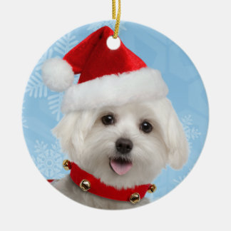 マルタの子犬の円形のクリスマスのオーナメント セラミックオーナメント