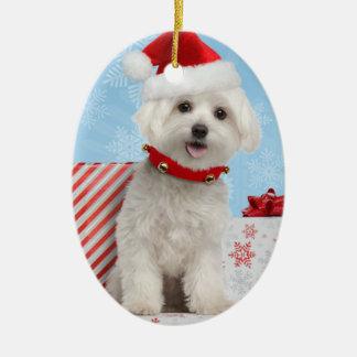 マルタの子犬の楕円形のクリスマスのオーナメント セラミックオーナメント