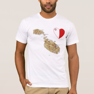 マルタの旗のハートおよび地図のTシャツ Tシャツ