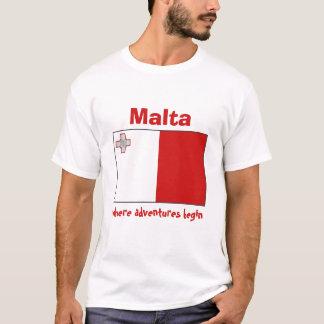マルタの旗 + 地図 + 文字のTシャツ Tシャツ