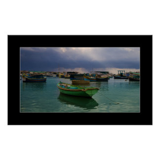 マルタの漁村Marsaxlokkのボート ポスター