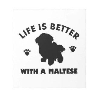 マルタ犬のデザイン ノートパッド