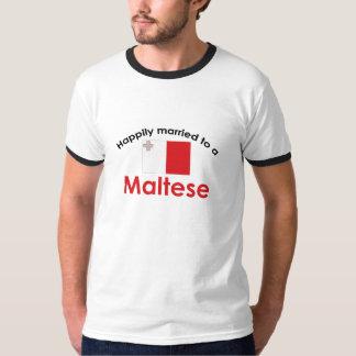 マルチーズに幸福に結婚した Tシャツ