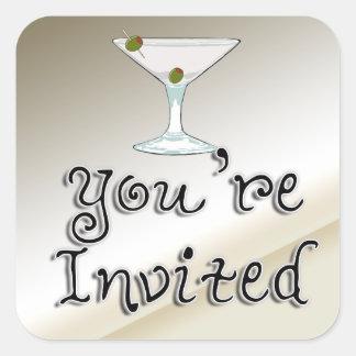 マルティーニのカクテルのパーティの招待状の封筒用シール スクエアシール