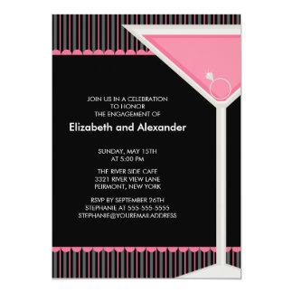 マルティーニのリングのカクテルの婚約パーティの招待状 12.7 X 17.8 インビテーションカード