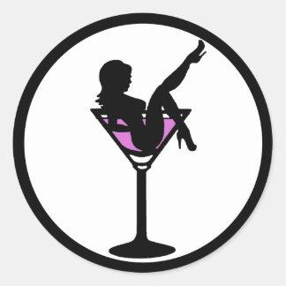 マルティーニの女の子の白黒の紫色のシルエットのステッカー ラウンドシール