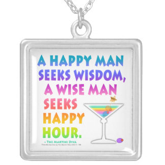 マルティーニの禅: 賢者は楽しい時間のネックレスを追求します シルバープレートネックレス