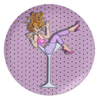 マルティーニガラスの女の子- Lilの赤いプレート プレート