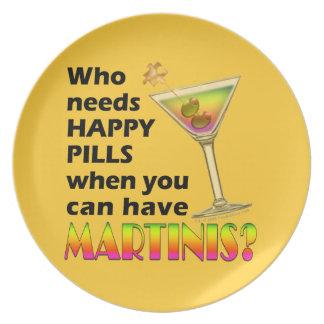 マルティーニ対幸せな丸薬プレート プレート