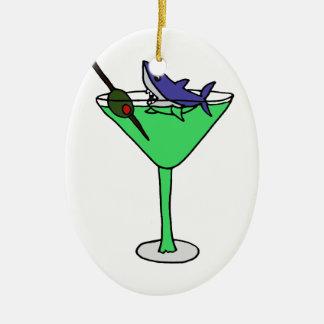 マルティーニ緑のガラスのおもしろいな鮫 セラミックオーナメント