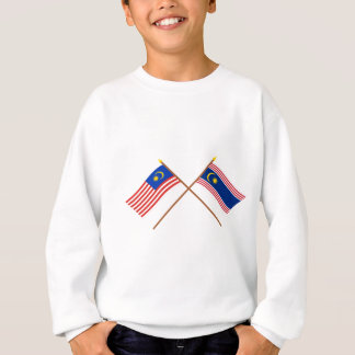 マレーシアおよびクアラルンプールの交差させた旗 スウェットシャツ